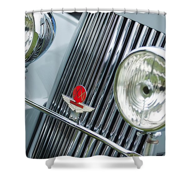 1939 Aston Martin 15-98 Abbey Coachworks Swb Sports Grille Emblems Shower Curtain