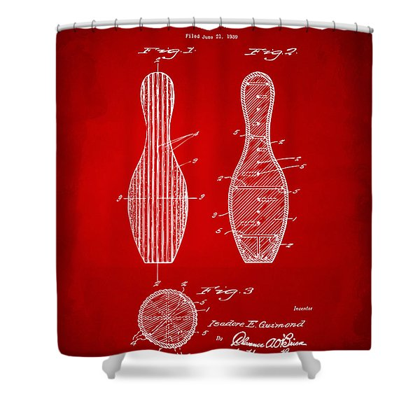 1939 Bowling Pin Patent Artwork - Red Shower Curtain