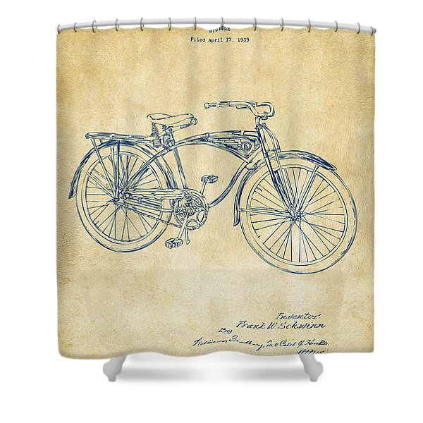 1939 Schwinn Bicycle Patent Artwork Vintage Shower Curtain