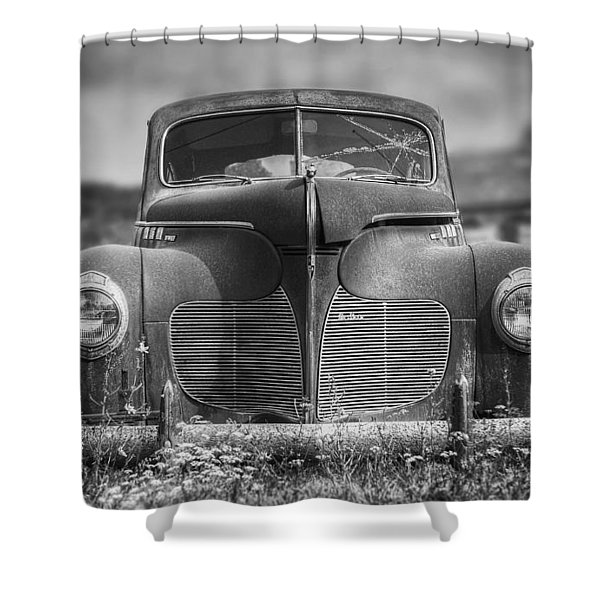 1940 Desoto Deluxe Black And White Shower Curtain