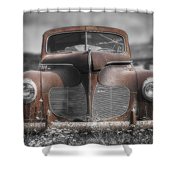 1940 Desoto Deluxe With Spot Color Shower Curtain