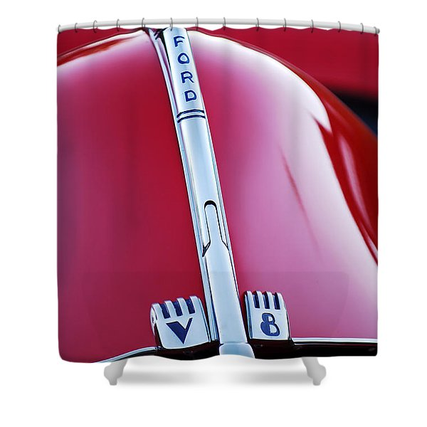 1940 Ford V8 Hood Ornament -323c Shower Curtain