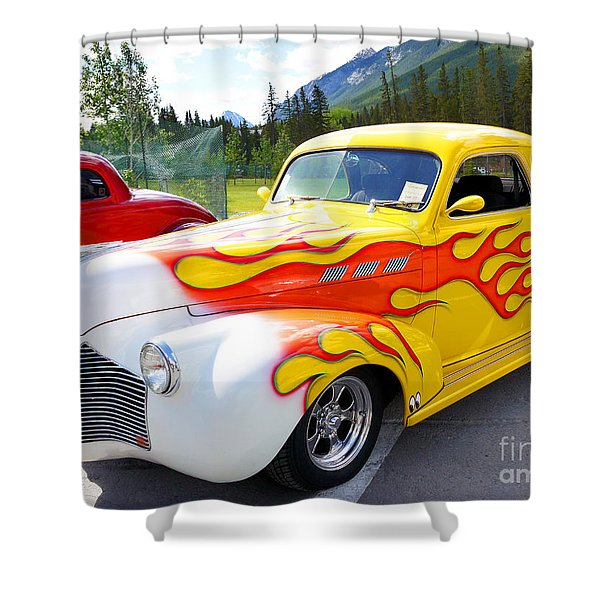 1940 Pontiac Coupe Breathing Fire Shower Curtain