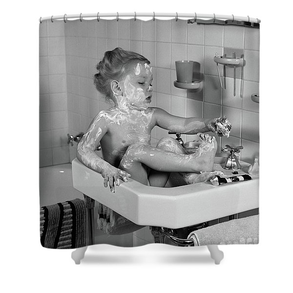 1940s Girl Sitting In Sink Lathered Shower Curtain