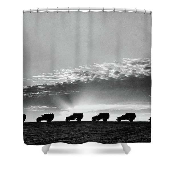 1940s Line Of Anonymous Silhouetted Shower Curtain