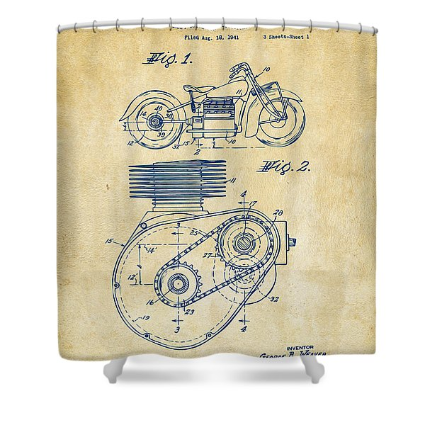 1941 Indian Motorcycle Patent Artwork - Vintage Shower Curtain