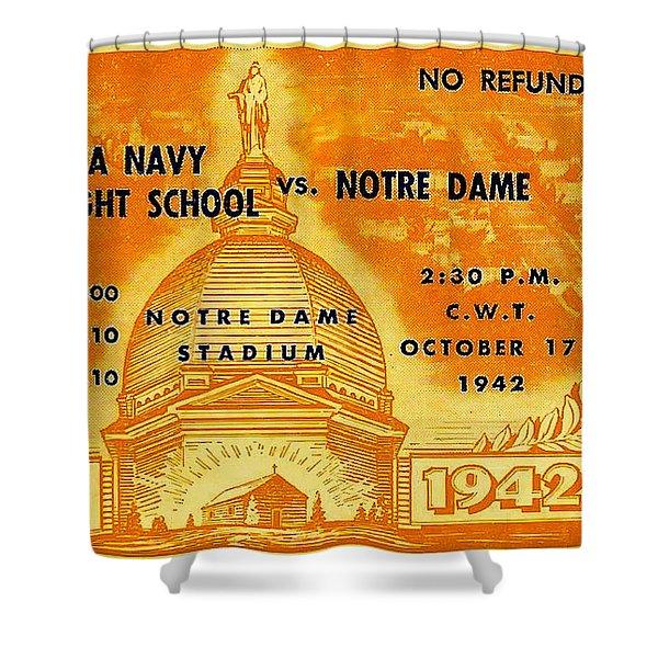 1942 Football Ticket Notre Dame Vs Iowa Navy Pre-flight Shower Curtain