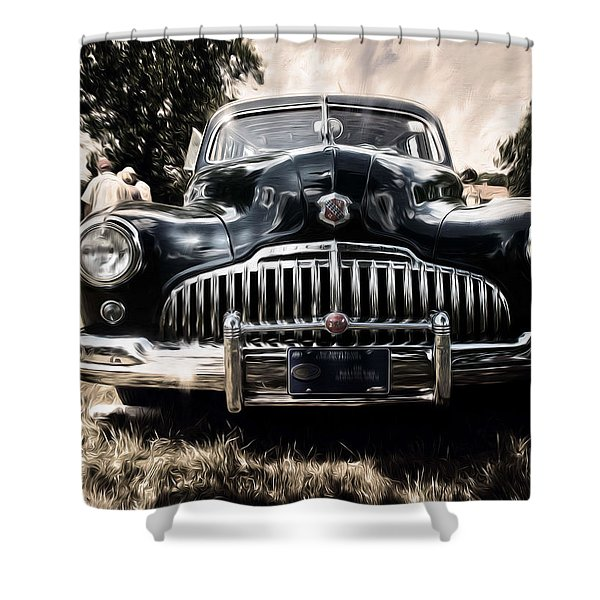 1946 Buick Estate Wagon Sepia Tone Shower Curtain