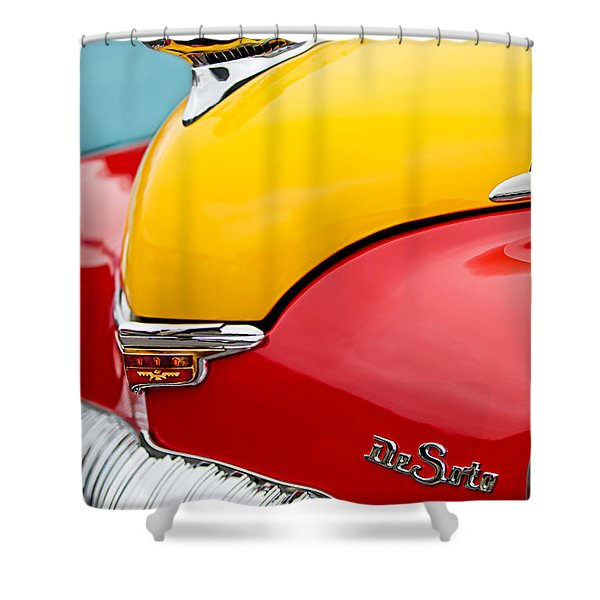 1946 Desoto Skyview Taxi Cab Hood Ornament Shower Curtain