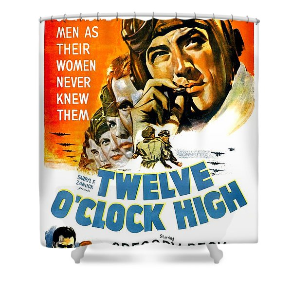 1949 - Twelve O Clock High Movie Poster - Gregory Peck - Dean Jagger - 20th Century Pictures - Color Shower Curtain