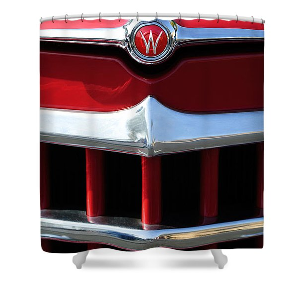 1950 Willys Overland Jeepster Hood Emblem Shower Curtain