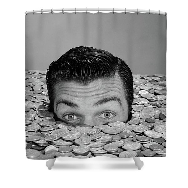 1950s 1960s Funny Man Buried Up To Eyes Shower Curtain