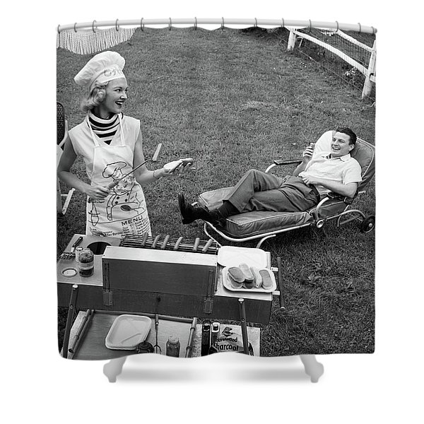 1950s 1960s Woman In Chefs Hat Shower Curtain