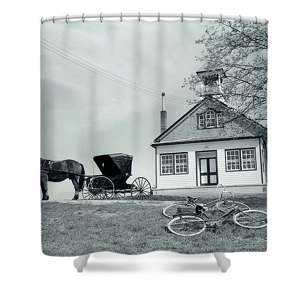 1950s Amish One-room Schoolhouse At Top Shower Curtain