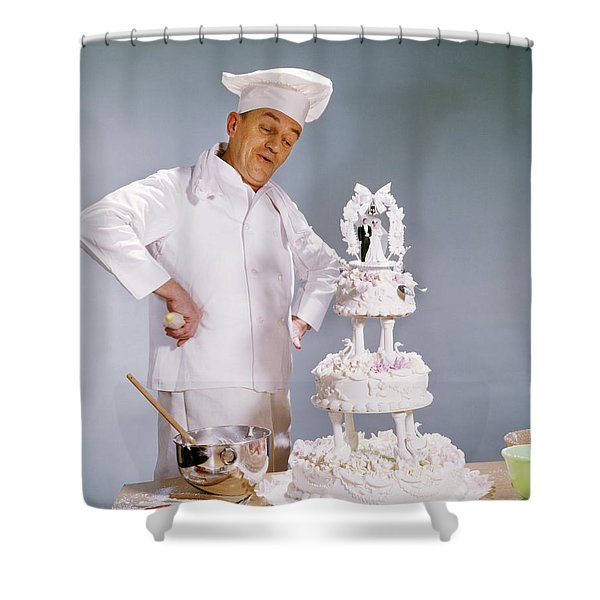 1950s Chef Looking At Wedding Cake Shower Curtain