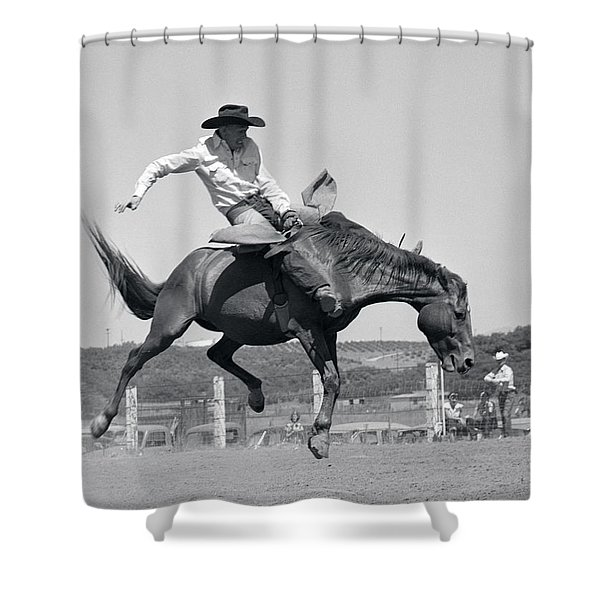 1950s Cowboy Riding A Horse Bareback Shower Curtain