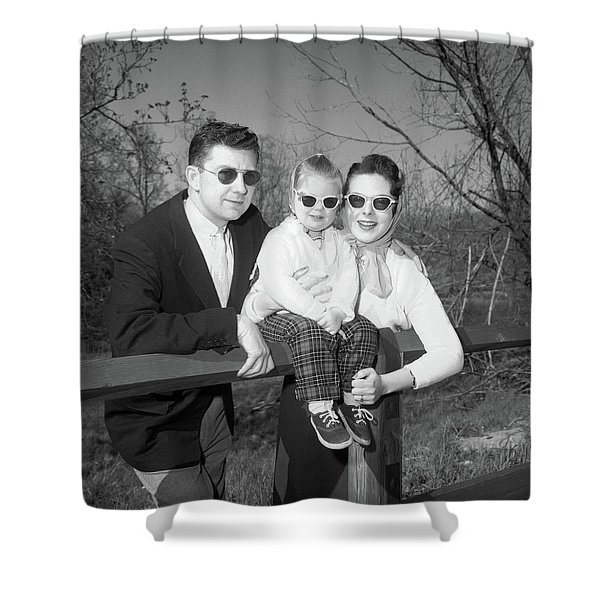 1950s Family Portrait With Sunglasses Shower Curtain