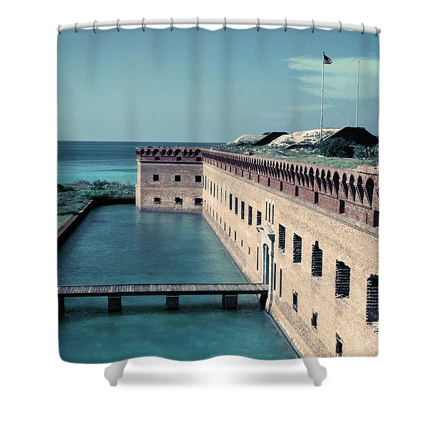 1950s Fort Jefferson Largest Masonry Shower Curtain