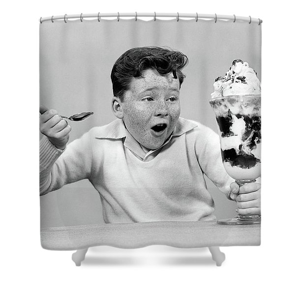 1950s Freckle Face Boy Digging Shower Curtain
