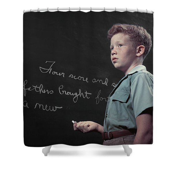 1950s Freckle Faced Red Haired Boy Shower Curtain