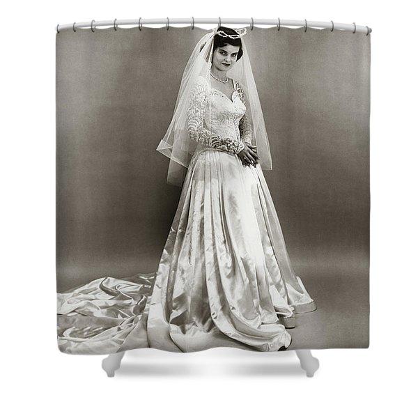 1950s Full Length Portrait Bride Shower Curtain