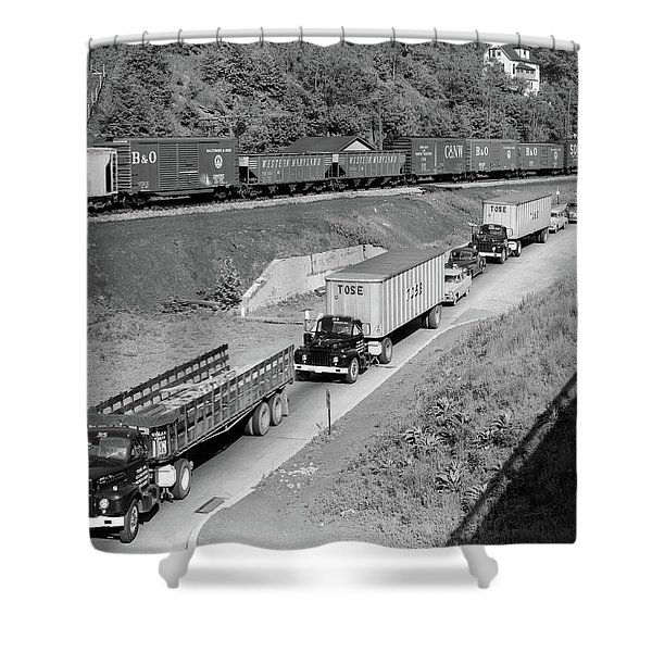 1950s Line Of Traffic With Many Trucks Shower Curtain
