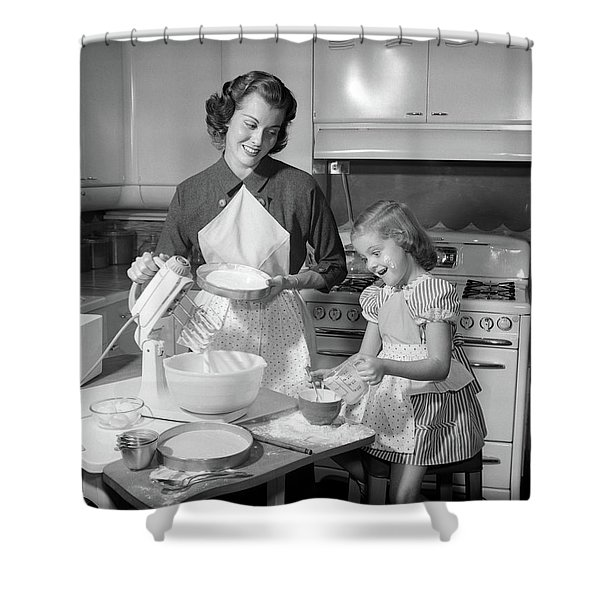 1950s Mother & Daughter Baking A Cake Shower Curtain