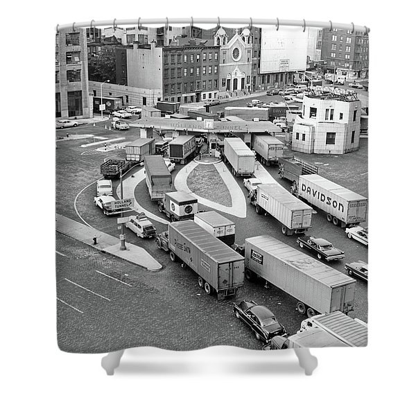 1950s Overhead Of Traffic Congestion Shower Curtain