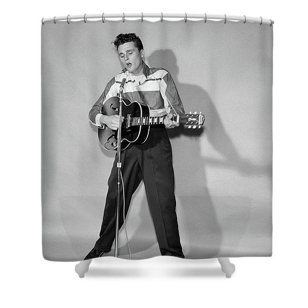 1950s Rockabilly Singer In Front Shower Curtain