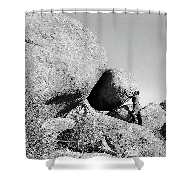 1950s Symbolic Man Outdoors Holding Shower Curtain