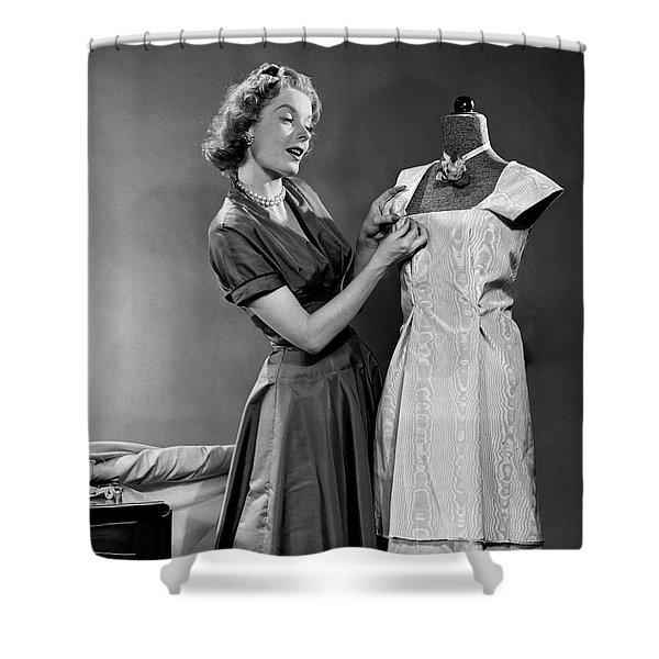 1950s Woman Making Dress Pinning Fabric Shower Curtain