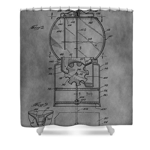 1952 Gumball Machine Patent Shower Curtain