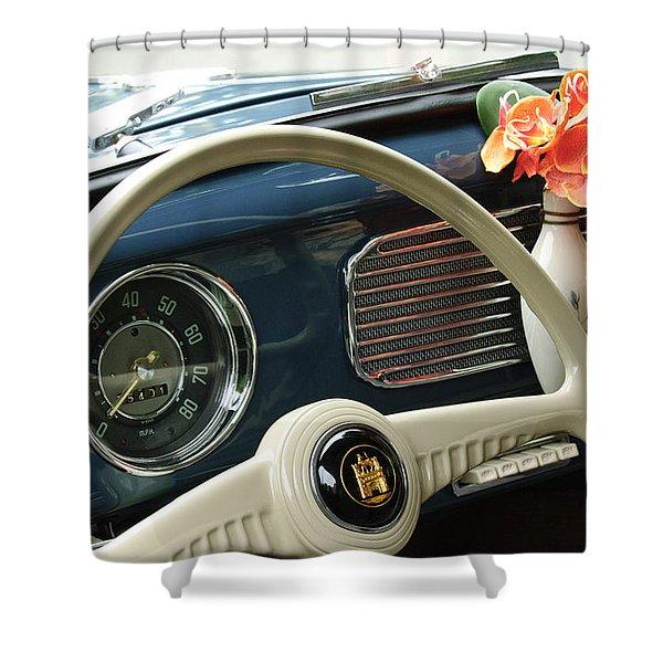1952 Volkswagen Vw Bug Steering Wheel Shower Curtain