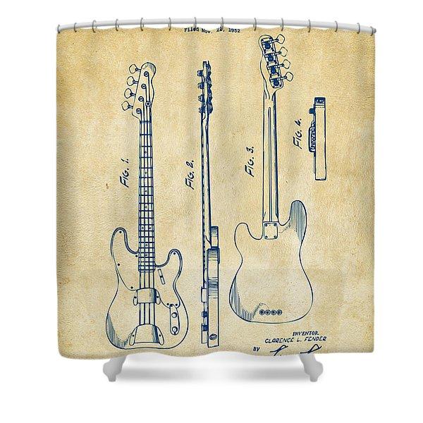 1953 Fender Bass Guitar Patent Artwork - Vintage Shower Curtain