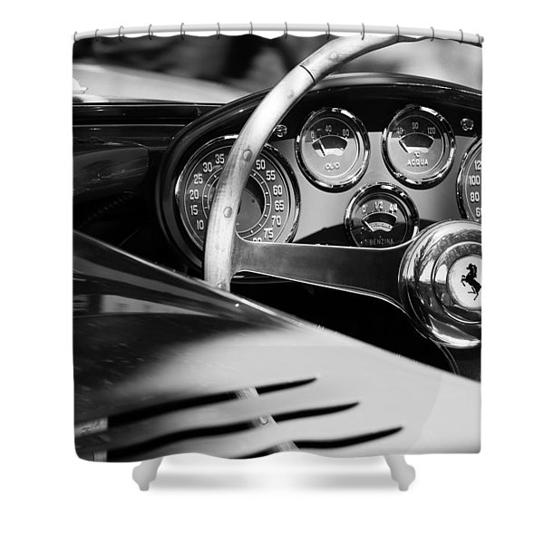 1954 Ferrari 500 Mondial Spyder Steering Wheel Emblem Shower Curtain