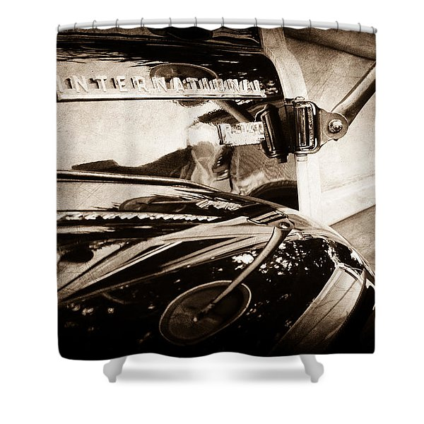 1954 International Harvester R140 Woody Wagon Emblem Shower Curtain