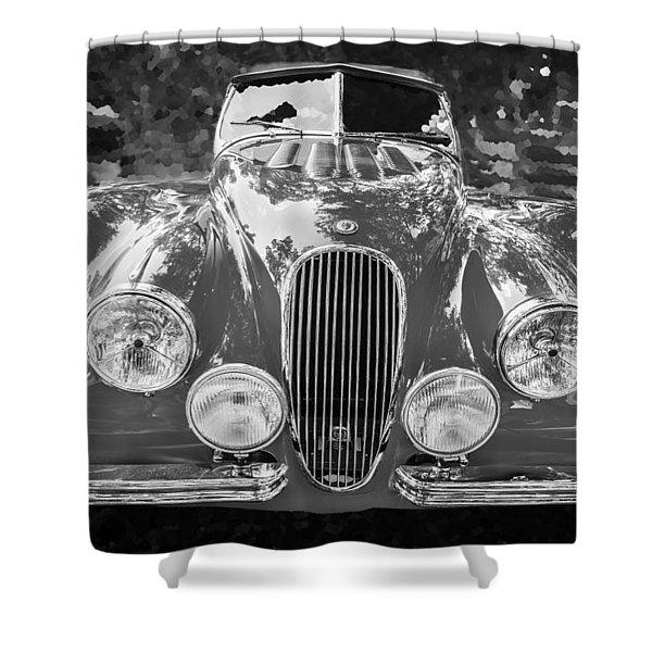 1954 Jaguar Xk 120 Se Ots Bw Shower Curtain