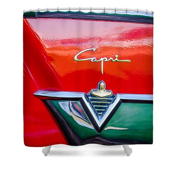1954 Lincoln Capri Emblem -1177c Shower Curtain