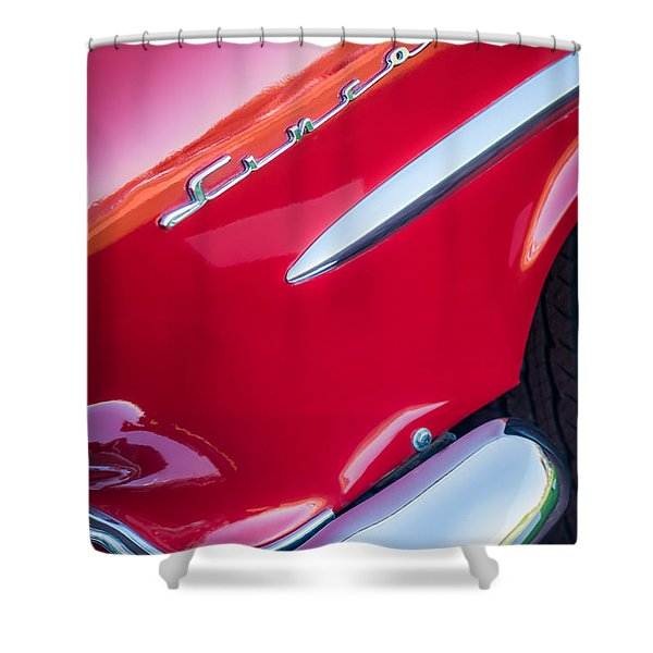 1954 Lincoln Capri Side Emblem Shower Curtain