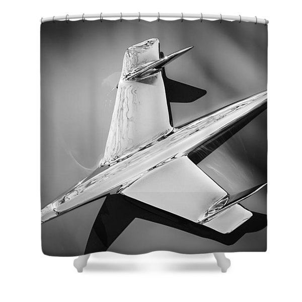 1955 Chevrolet Belair Nomad Hood Ornament -037bw Shower Curtain