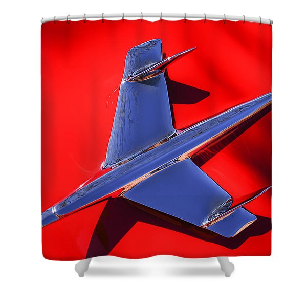 1955 Chevrolet Belair Nomad Hood Ornament -037c Shower Curtain