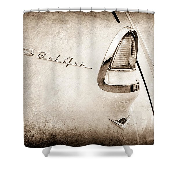 1955 Chevrolet Belair Nomad Taillight Emblem Shower Curtain