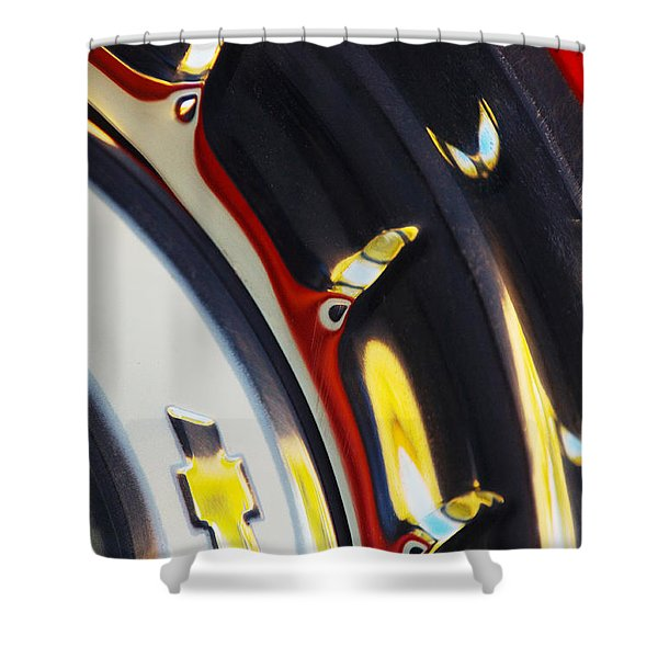 1955 Chevrolet Belair Nomad Wheel Shower Curtain
