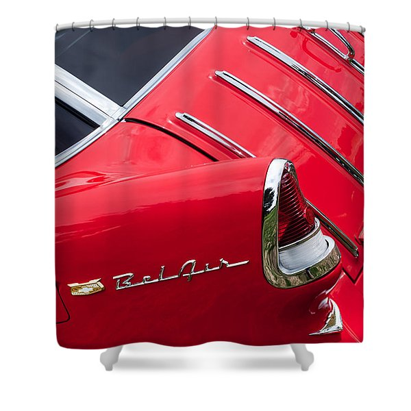 1955 Chevrolet Nomad Wagon Taillight Emblem Shower Curtain