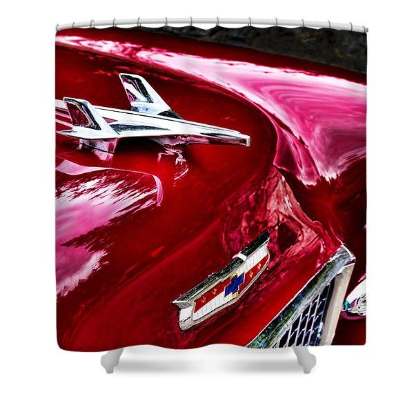 1955 Chevy Bel Air Hood Ornament Shower Curtain