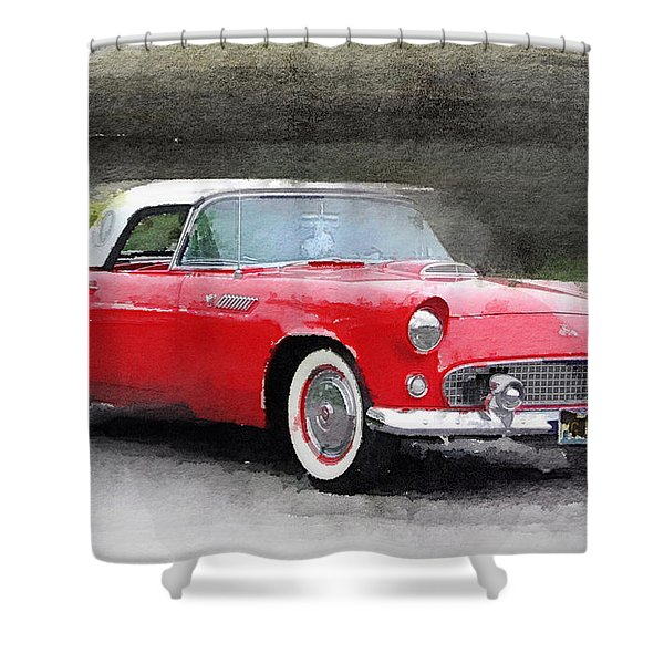 1955 Ford Thunderbird Watercolor Shower Curtain
