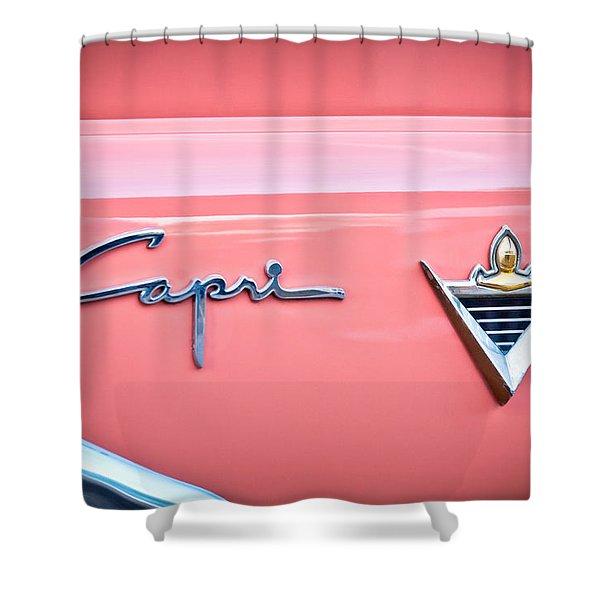 1955 Lincoln Capri Emblem 2 Shower Curtain
