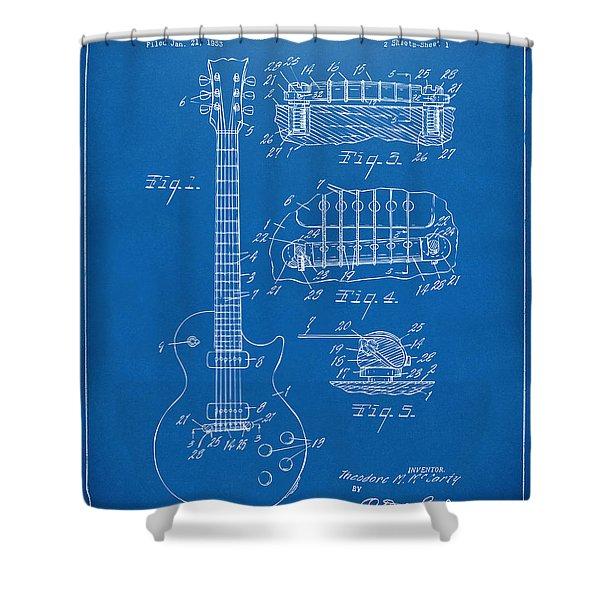 1955 Mccarty Gibson Les Paul Guitar Patent Artwork Blueprint Shower Curtain