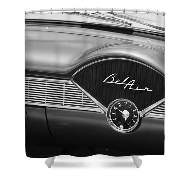 1956 Chevrolet Bel Air Convertible Painted Bw Shower Curtain