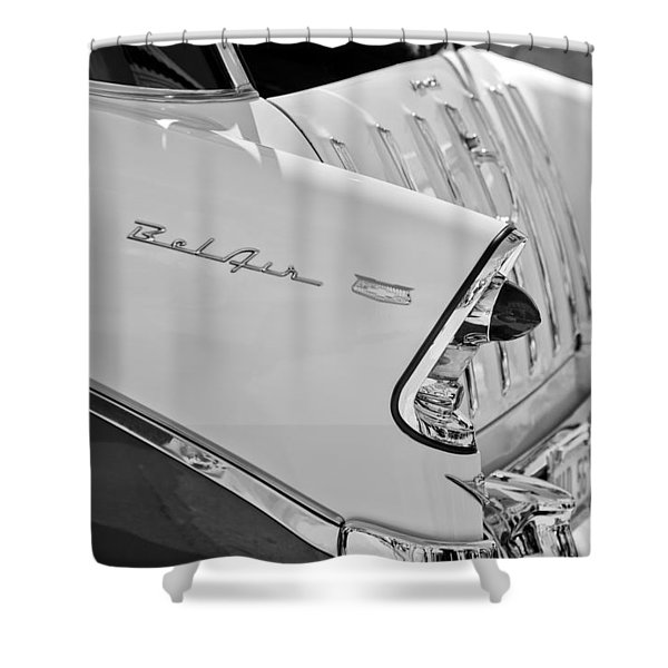 1956 Chevrolet Belair Nomad Rear End Taillights Shower Curtain